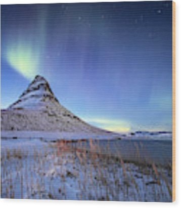 Northern Lights Atop Kirkjufell Iceland Wood Print by Nathan Bush