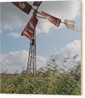 Old Rusty Windmill. Wood Print by Anjo Ten Kate
