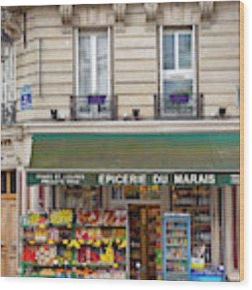 Paris Corner Grocery Wood Print by Brian Jannsen