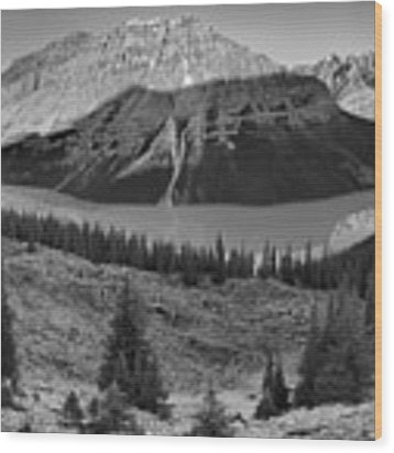 Peyto Lake Giant Sunrise Panorama Black And White Wood Print by Adam Jewell