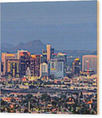 Phoenix Skyline Dusk  Wood Print by Chance Kafka