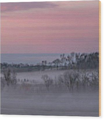 Pink Misty Morning #3 - Misty Field Wood Print by Patti Deters