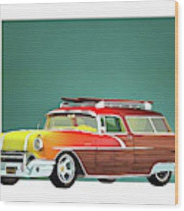 Pontiac Safari Surfer Edition Wood Print by Jan Keteleer