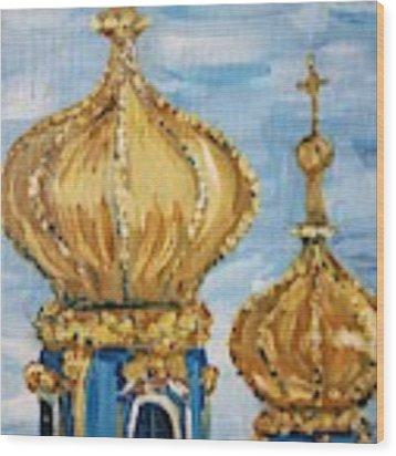 Pushkin Palace Towers Wood Print by Maria Langgle