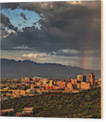 Rainbow Over Tucson Wood Print by Chance Kafka
