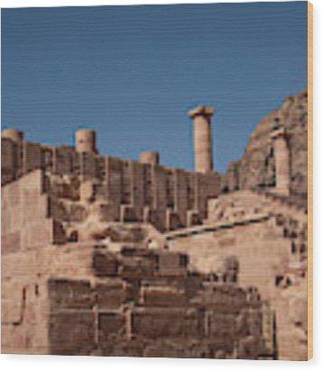 Roman Temple In Petra Wood Print by Mae Wertz