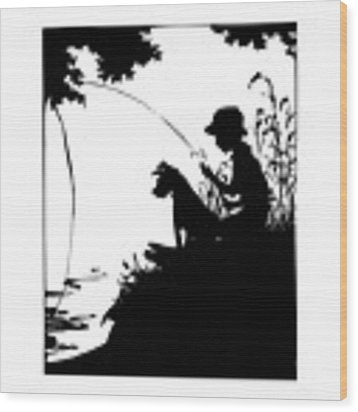 Silhouette Of A Boy Fishing With His Dog Wood Print by Rose Santuci-Sofranko