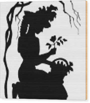 Silhouette Woman Picking Roses Wood Print by Rose Santuci-Sofranko