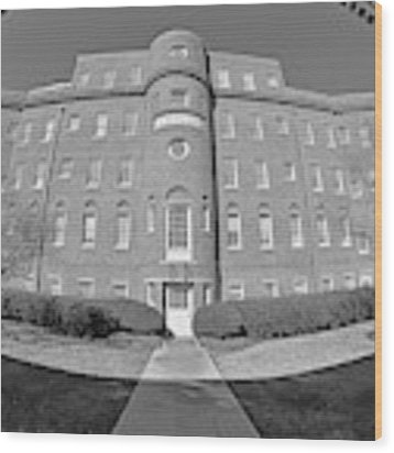 South Carolina State Hospital Black And White Wood Print by Lisa Wooten