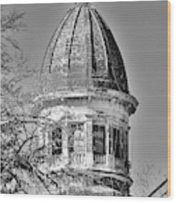 South Carolina State Hospital Dome Black And White 3 Wood Print by Lisa Wooten