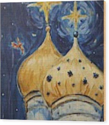 Stars Near And Far Wood Print by Maria Langgle
