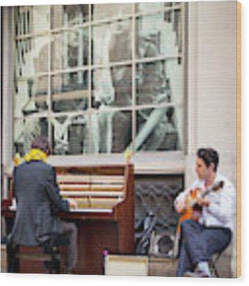 Street Musicians - Paris Wood Print by Brian Jannsen
