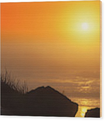 Sunset At Beverly Beach On The Oregon Coast Wood Print by Dee Browning
