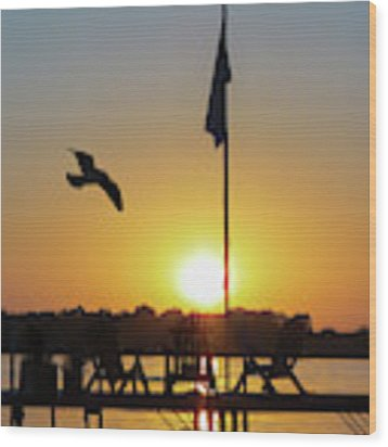 Sunset Dock Flag Silhouette Wood Print by Patti Deters
