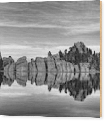 Sylvan Lake Reflections Black And White Wood Print by Mel Steinhauer