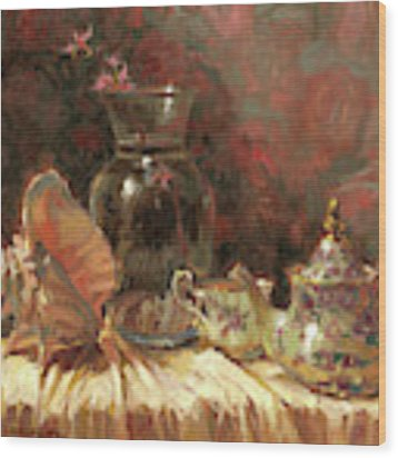 Tea By The Sea Wood Print by Steve Henderson