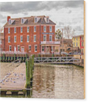 The Central Hotel - Delaware City Wood Print by Kristia Adams
