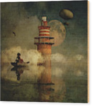 The Conducting Lighthouse Wood Print by Jan Keteleer