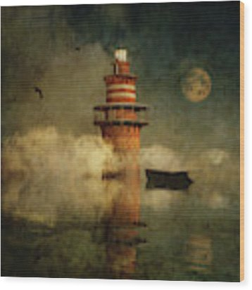 The Lonely Lighthouse In The Fog With Full Moon Wood Print by Jan Keteleer