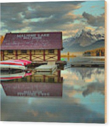The Start Of Sunset At Maligne Lake Wood Print by Adam Jewell