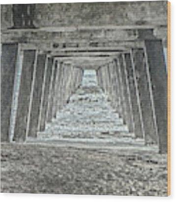 Under The Tybee Island Pier Wood Print by Judy Hall-Folde