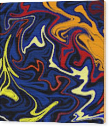 Warped Wet Paint Abstract In Comic Book Colors Wood Print by Shelli Fitzpatrick