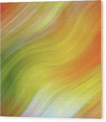 Wavy Colorful Abstract #4 - Yellow Green Orange Wood Print by Patti Deters