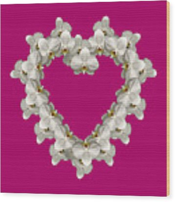 White Orchid Floral Heart Love And Romance Wood Print by Rose Santuci-Sofranko