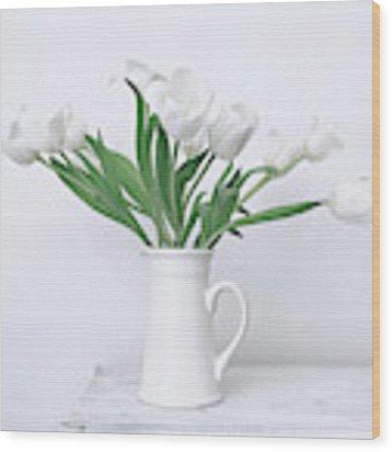 White Tulip Love Wood Print by Kim Hojnacki