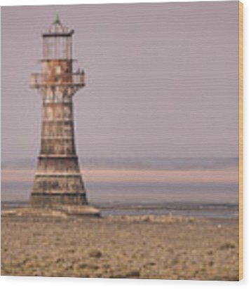 Whiteford Point Lighthouse In Pink Wood Print by Elliott Coleman