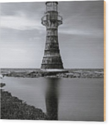 Whiteford Point Lighthouse Reflections Wood Print by Elliott Coleman
