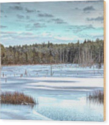 Winter At Lake Oswego Wood Print by Kristia Adams