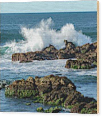 Winter Waves Hit Ancient Rocks No. 2 Wood Print by Susan Wiedmann