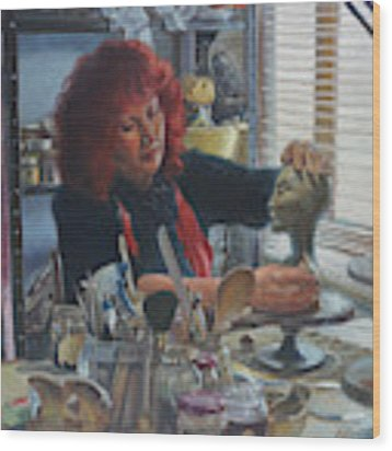 Woman Ceramicist At Work In Her Studio Wood Print by Martin Davey