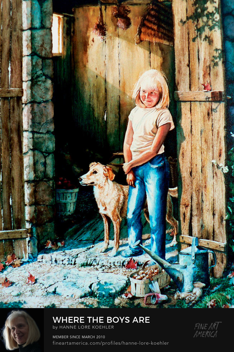 Painting of Girl Playing With Dog