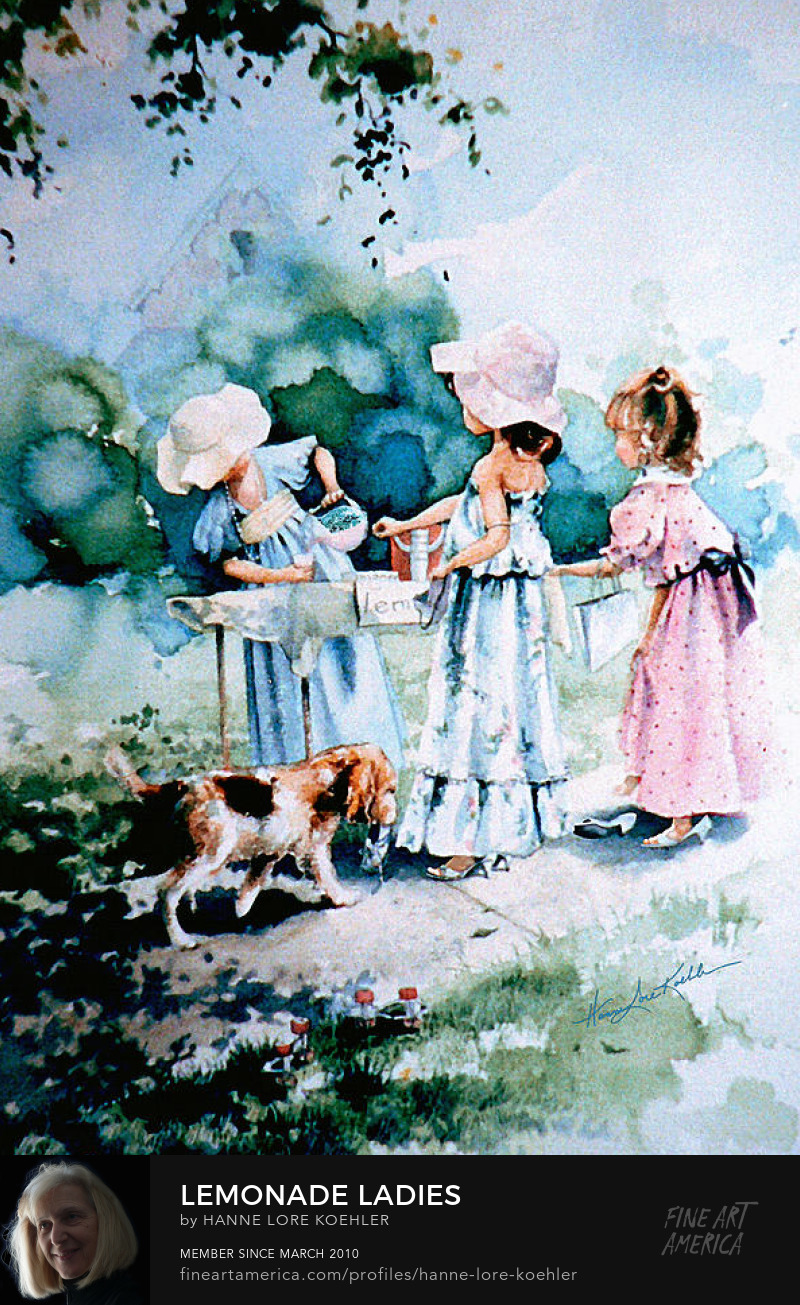 Painting Of Girls Playing Dressup At Lemonade Stand
