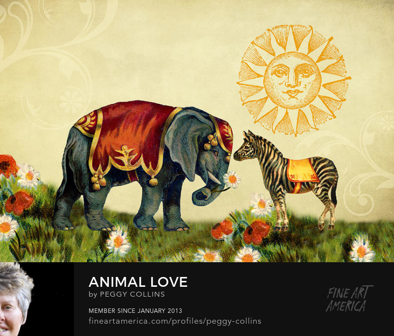 animal love vintage collage by peggy collins