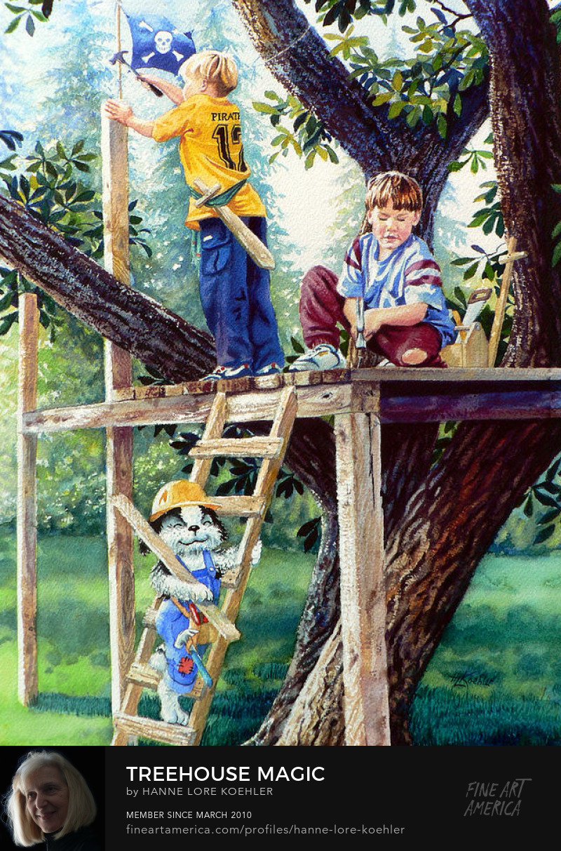 Prints Of Boys Playing In Treehouse With Dog