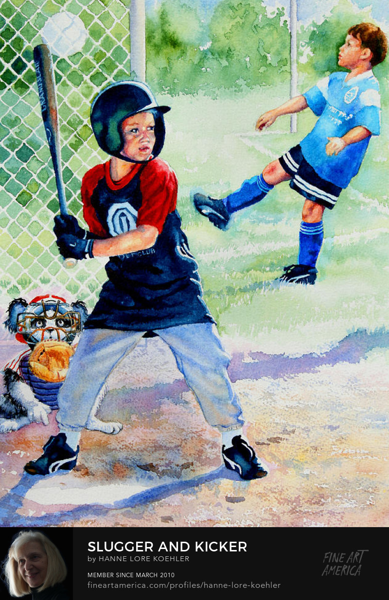 Painting of kids playing baseball and soccer