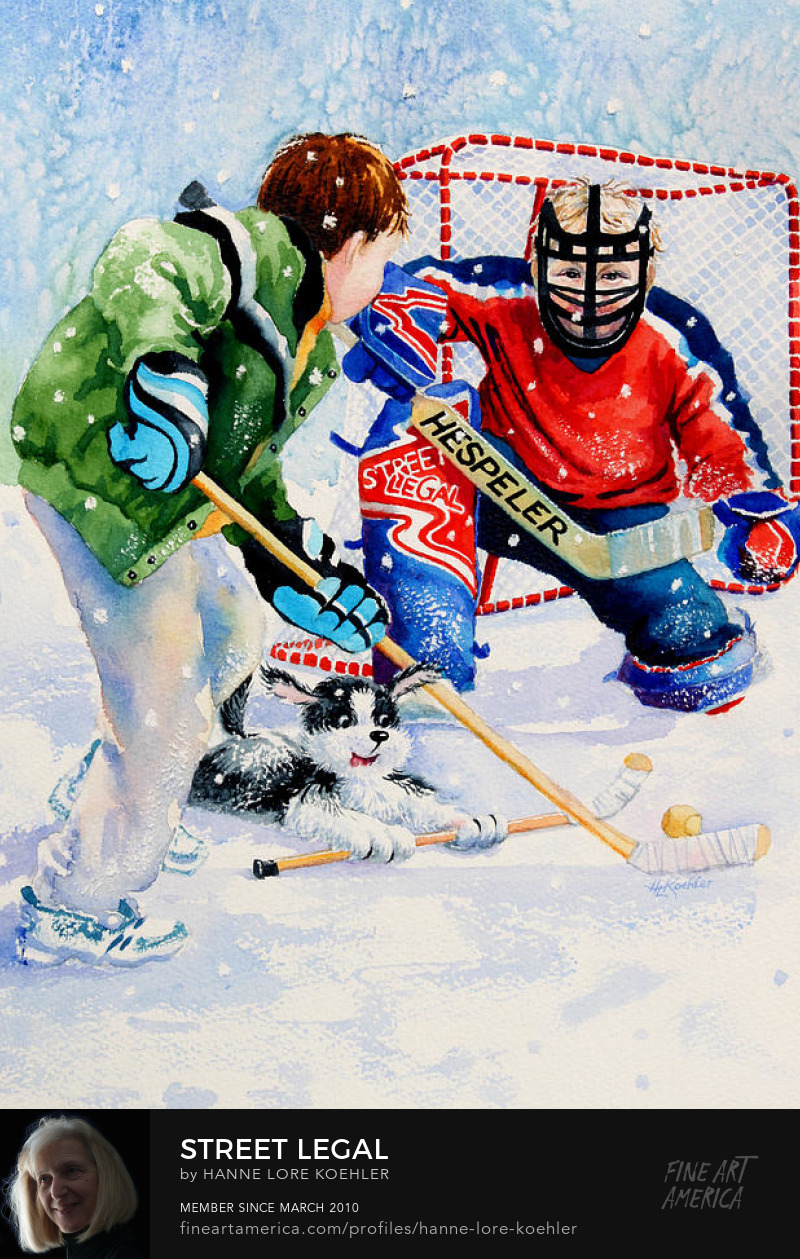 Art Prints Of Children Playing Street Hockey