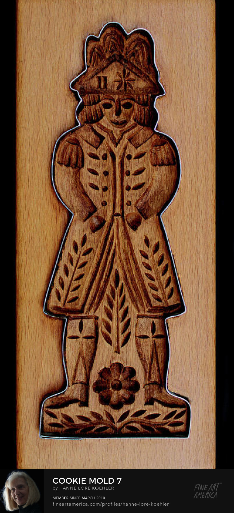 Art Prints of gingerbread man hand-carved wood baking mold