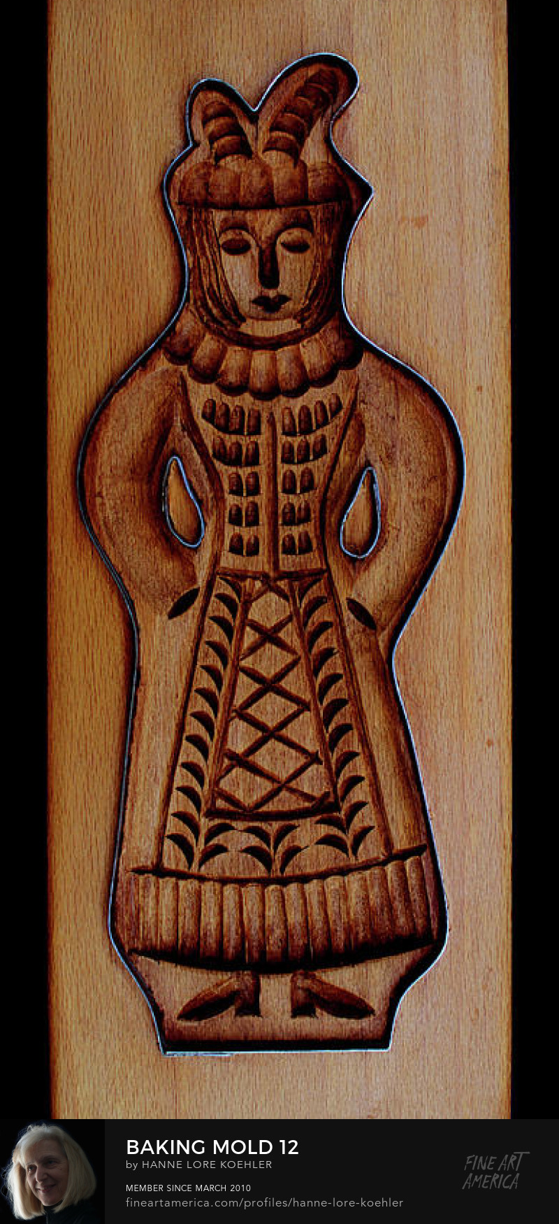 Art Prints of Carved Wood Cookie Baking Mold Woman