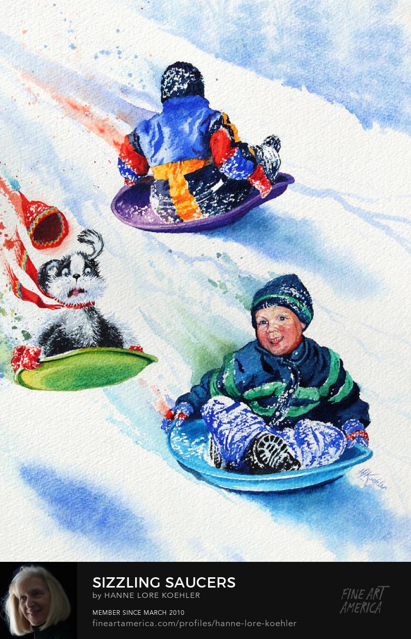 Painting Of Children sledding