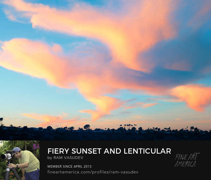 Fiery Sunset and Lenticular Clouds and by Ram Vasudev