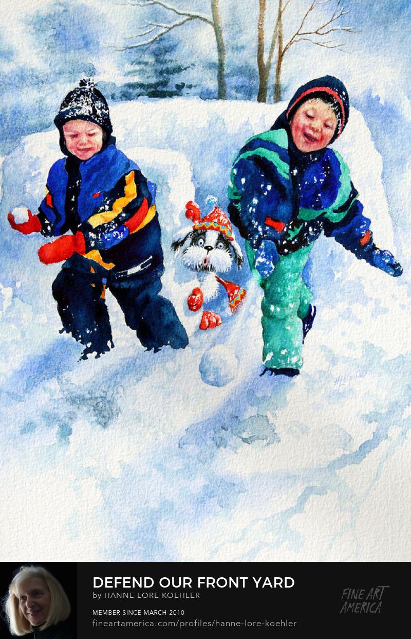Painting of kids Throwing Snowballs