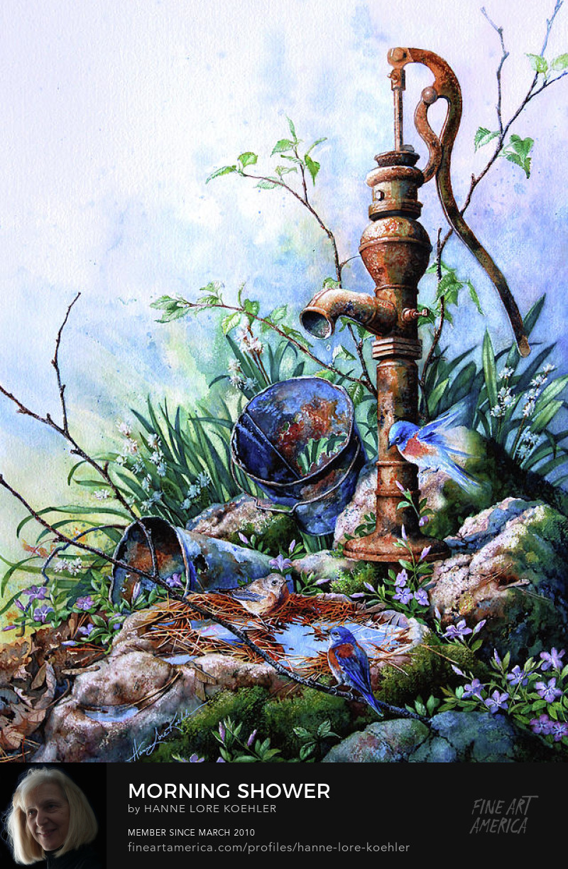 Painting Of Garden Water Pump With Bluebird