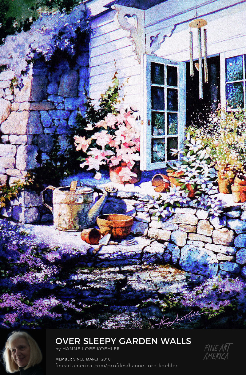 Still Life Painting Of Purple Flowers Over Garden Walls
