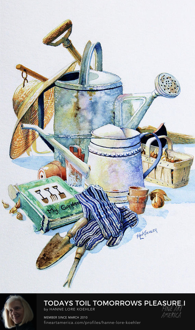 Still Life Garden Tools And Equipment Painting And Art Prints
