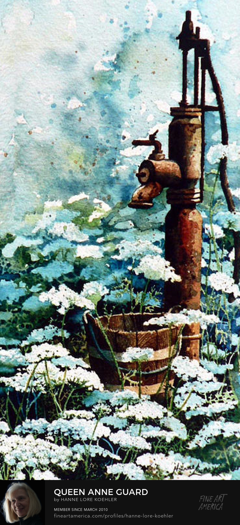 Water Pump With Queen Anne Lace Wildflowers Painting
