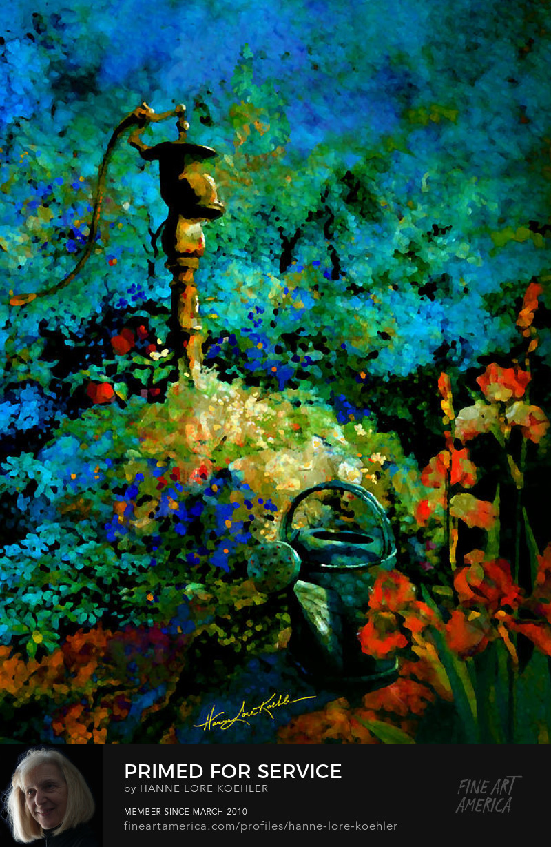 Garden Water Pump And Flowers Painting